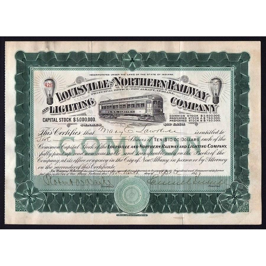 Louisville and Northern Railway and Lighting Company (Samuel Insull) Stock Certificate