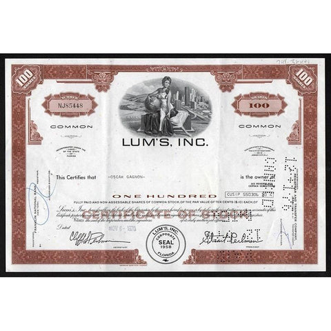 Lum's, Inc. (Caesars World, Inc.) Stock Certificate