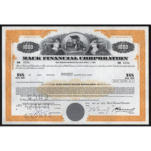 Mack Financial Corporation - $1000 Senior Debenture Stock Certificate