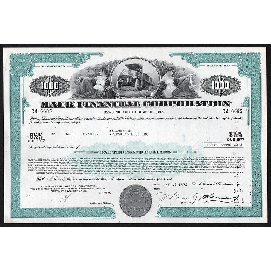 Mack Financial Corporation - $1000 Senior Note Stock Certificate