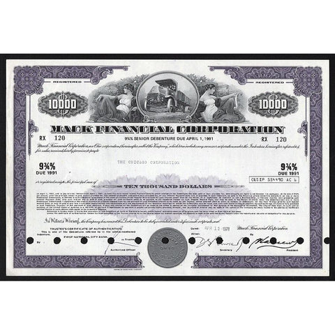 Mack Financial Corporation - $10,000 Debenture Stock Certificate