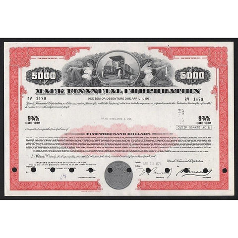 Mack Financial Corporation - $5,000 Debenture (Bear Stearns) Stock Certificate