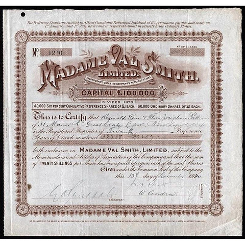 Madame Val Smith, Limited Stock Certificate