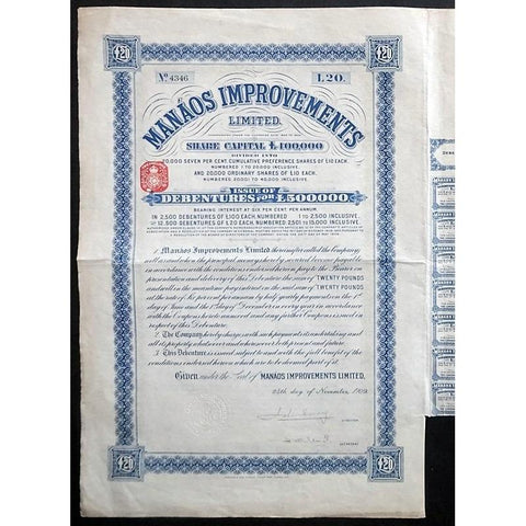 Manaos Improvements Limited Stock Certificate