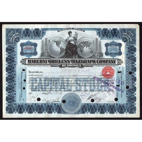 Marconi Wireless Telegraph Company of America Stock Certificate
