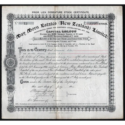 May Morn Estates (New Zealand) Limited Stock Certificate