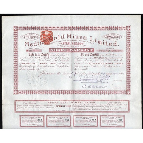 Medina Gold Mines Limited Stock Certificate