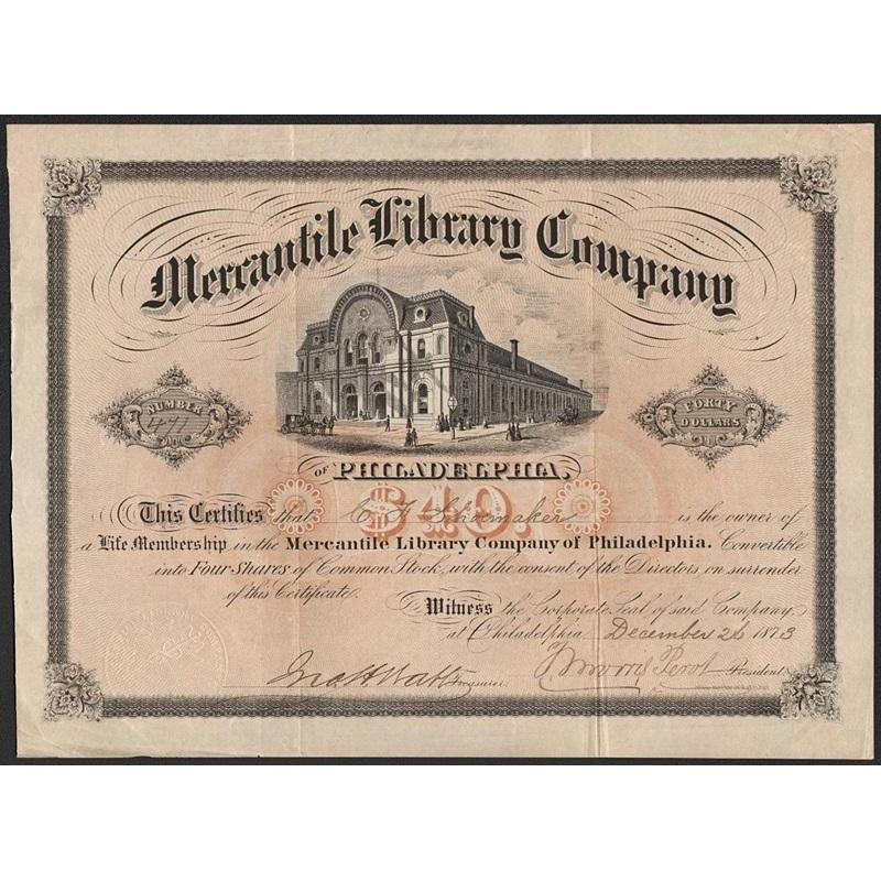 Mercantile Library Company of Philadelphia Stock Certificate