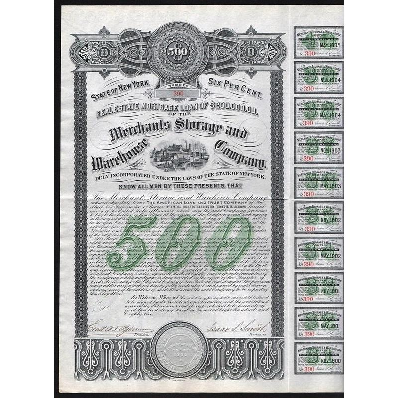 Merchants Storage and Warehouse Company Stock Certificate
