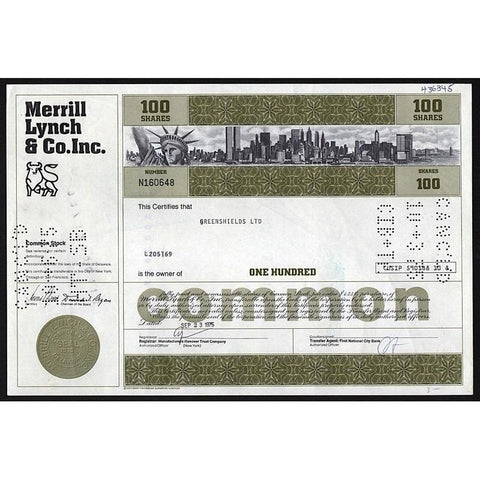 Merrill Lynch & Co. Inc. Stock Certificate