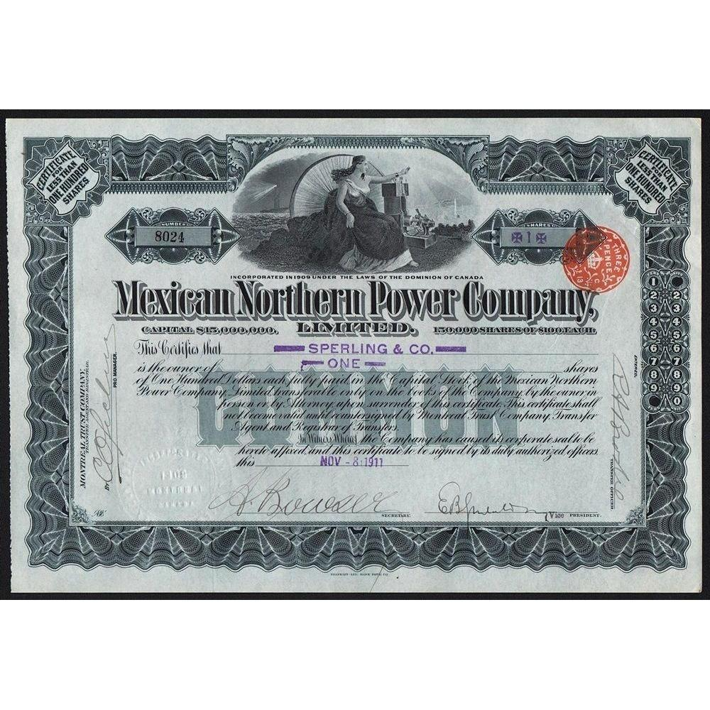 Mexican Northern Power Company Stock Certificate