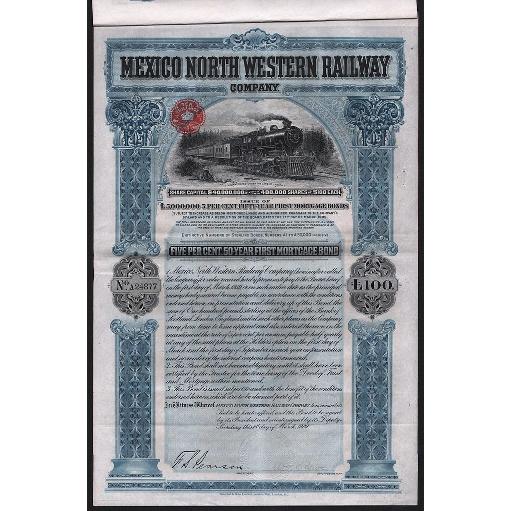 Mexico North Western Railway Company Stock Certificate