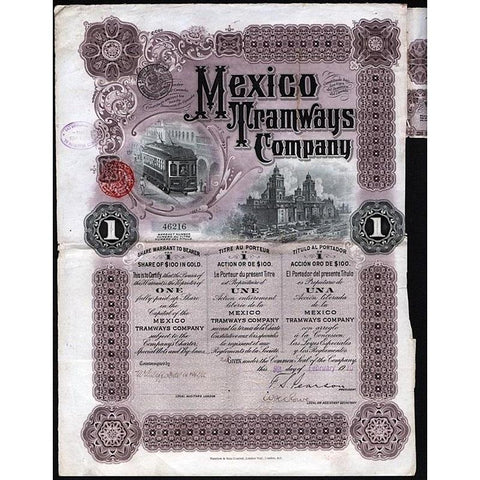 Mexico Tramways Company Stock Certificate