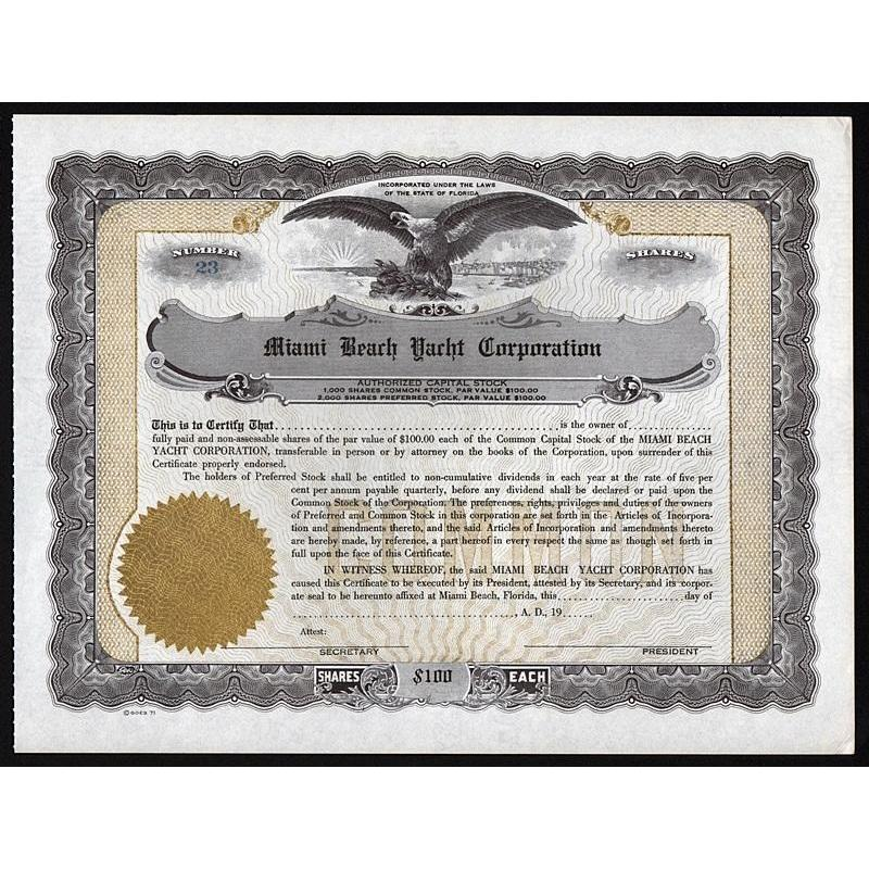 Miami Beach Yacht Corporation Stock Certificate