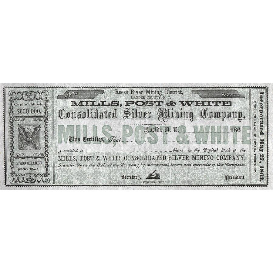 Mills, Post & White Consolidated Silver Mining Company Stock Certificate