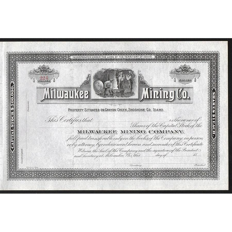 Milwaukee Mining Co. Stock Certificate