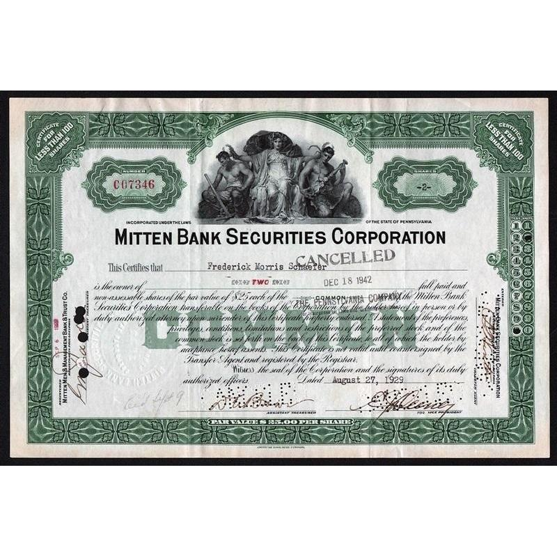 Mitten Bank Securities Corporation Stock Certificate