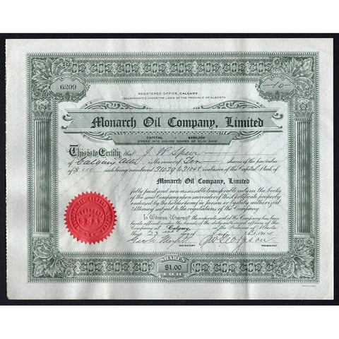 Monarch Oil Company, Limited Stock Certificate