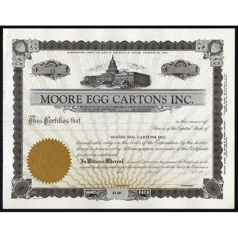 Moore Egg Cartons Inc. Stock Certificate