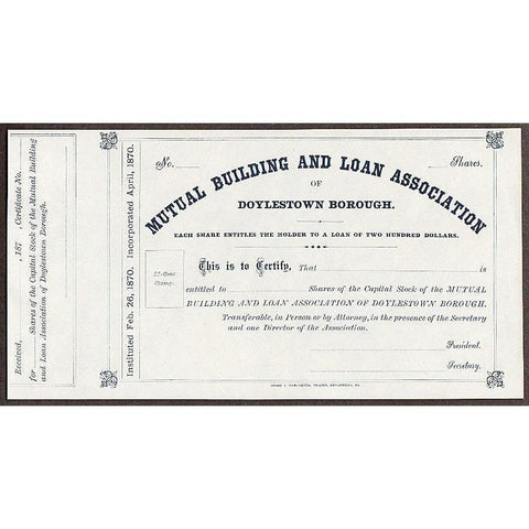 Mutual Building and Loan Association of Doylestown Borough Stock Certificate