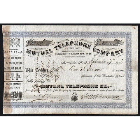 Mutual Telephone Company (Hawaii) Stock Certificate