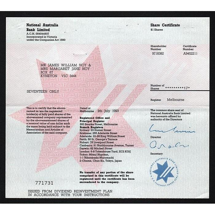 National Australia Bank Limited Stock Certificate