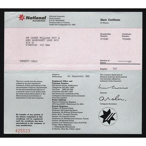 National Australia Bank Stock Certificate