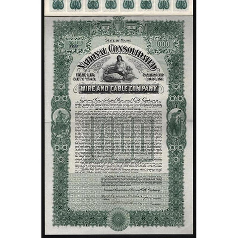 National Consolidated Wire and Cable Company Stock Certificate