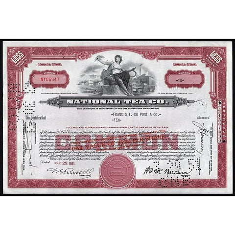 National Tea Co. Stock Certificate