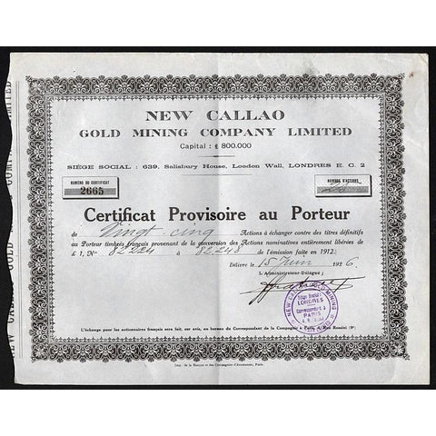 New Callao Gold Mining Company, Limited Stock Certificate