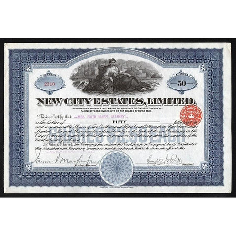 New City Estates Limited Stock Certificate