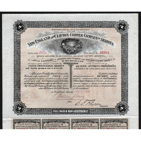 New England and Clifton Copper Company of Arizona Stock Certificate