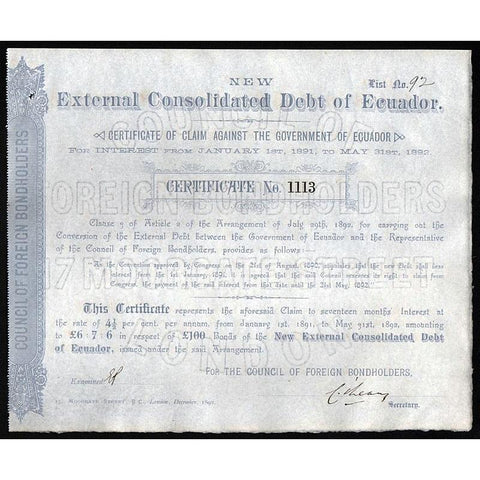 New External Consolidated Debt of Ecuador - £100 Stock Certificate