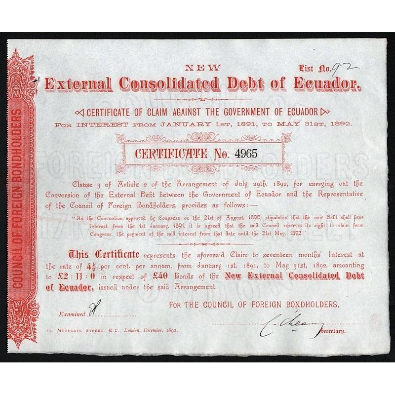 New External Consolidated Debt of Ecuador - £40 Stock Certificate