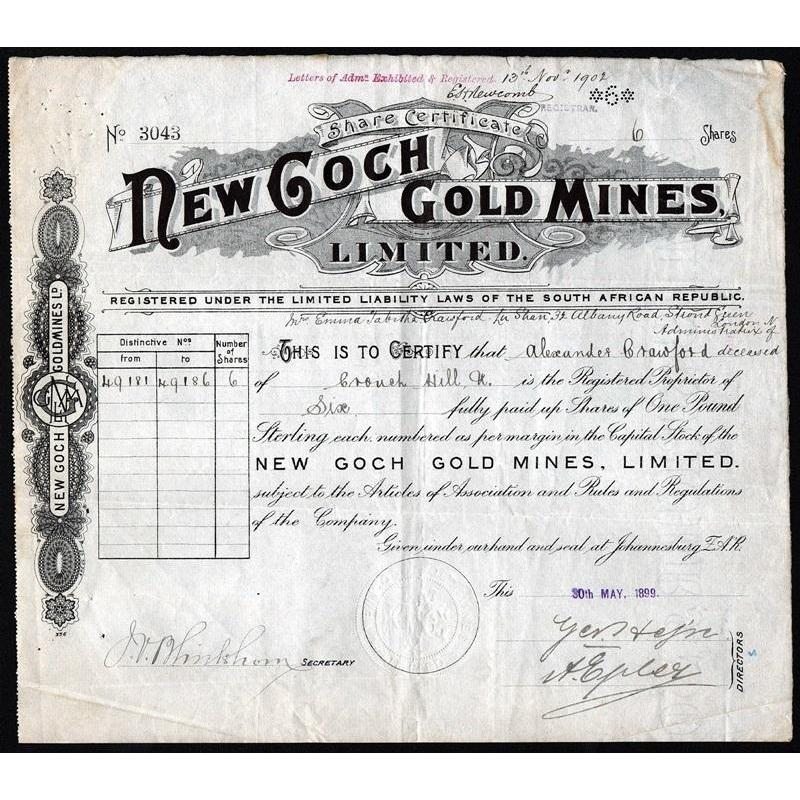 New Goch Gold Mines, Limited Stock Certificate
