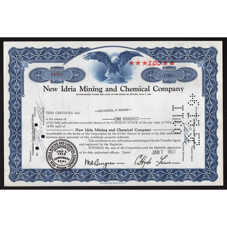 New Idria Mining and Chemical Company Stock Certificate