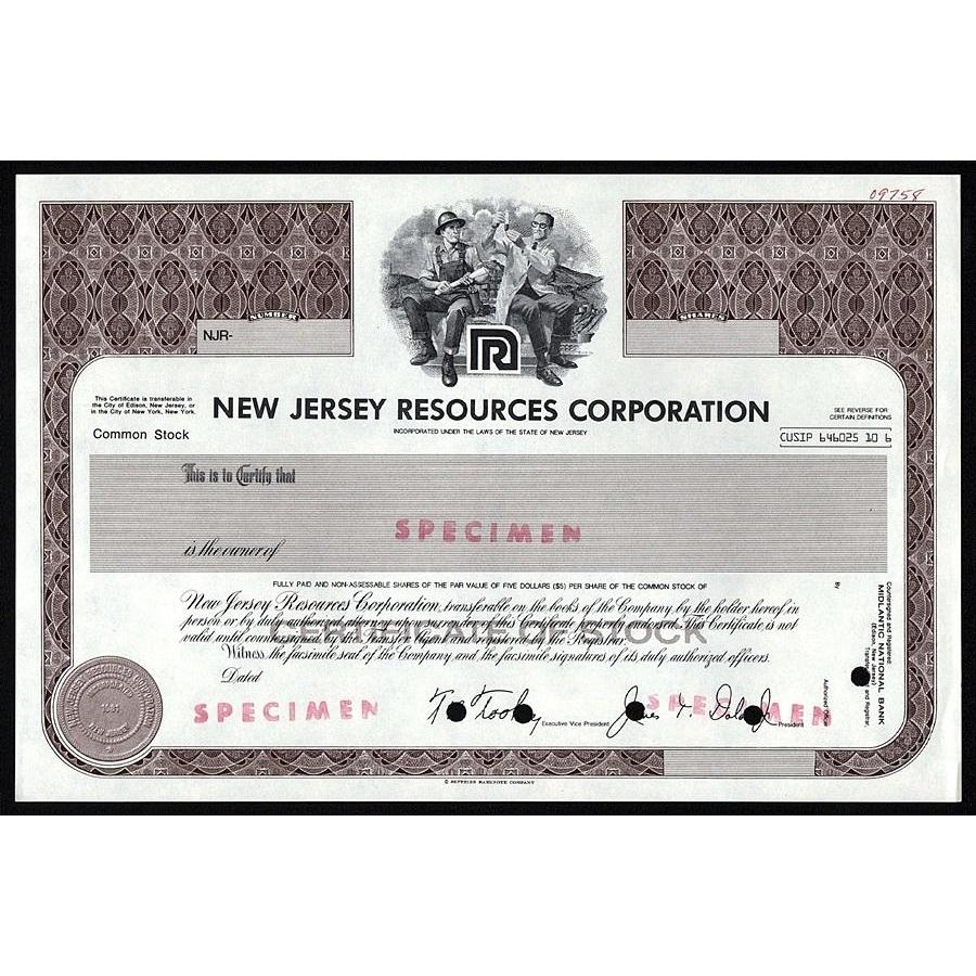New Jersey Resources (Specimen) Stock Certificate