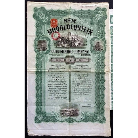 New Modderfontein Gold Mining Company Limited Stock Certificate