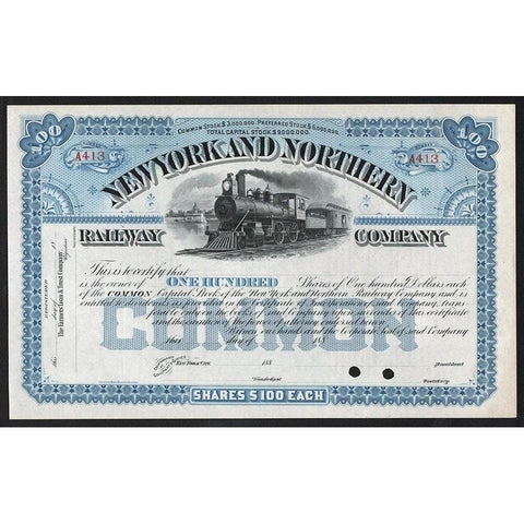 New York and Northern Railway Company Stock Certificate