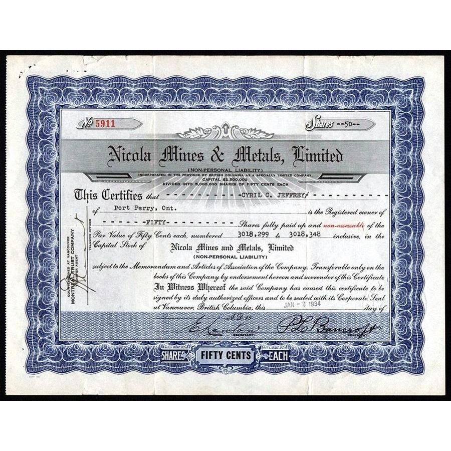 Nicola Mines & Metals, Limited Stock Certificate