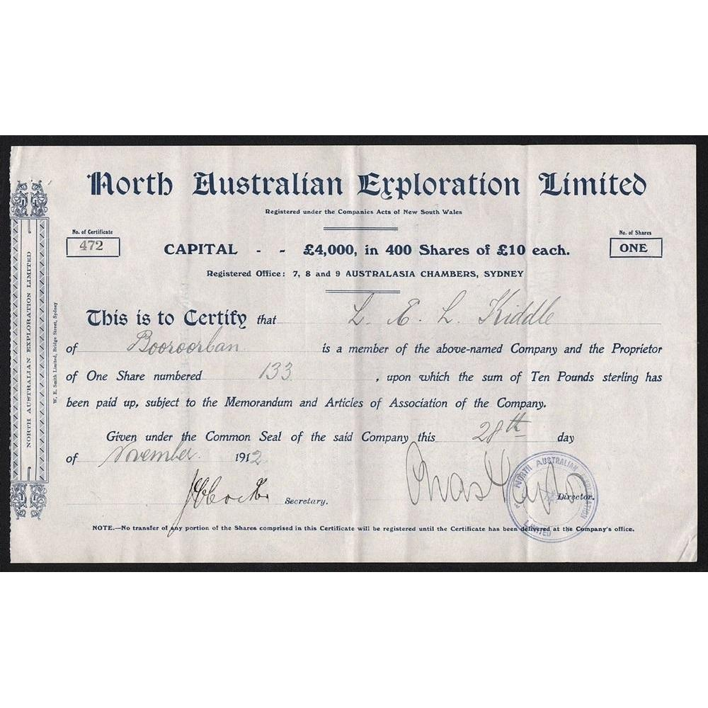 North Australian Exploration Limited Stock Certificate