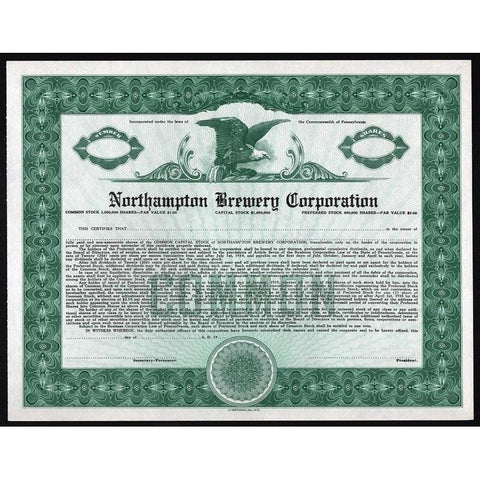 Northampton Brewery Corporation. Stock Certificate