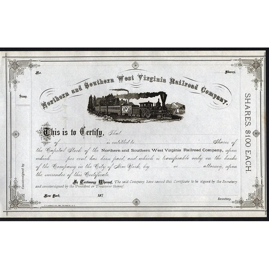 Northern and Southern West Virginia Railroad Company Stock Certificate
