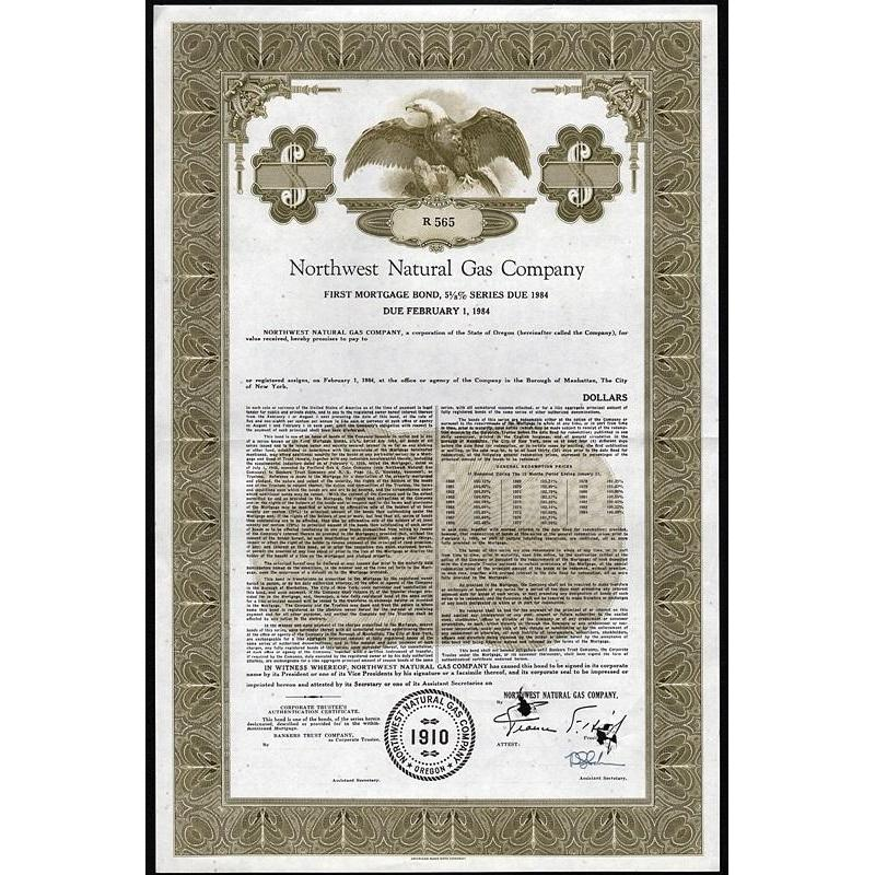 Northwest Natural Gas Company Stock Certificate