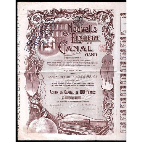 Nouvelle Liniere du Canal Gand Societe Anonyme Stock Certificate