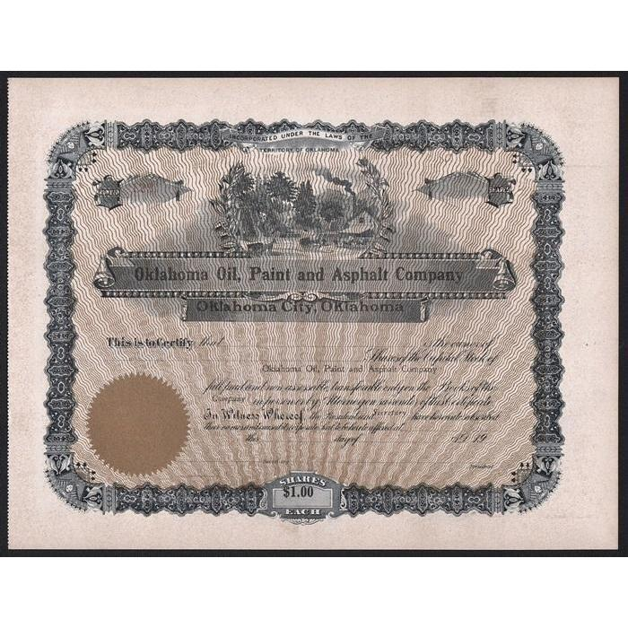 Oklahoma Oil, Paint and Asphalt Company Stock Certificate