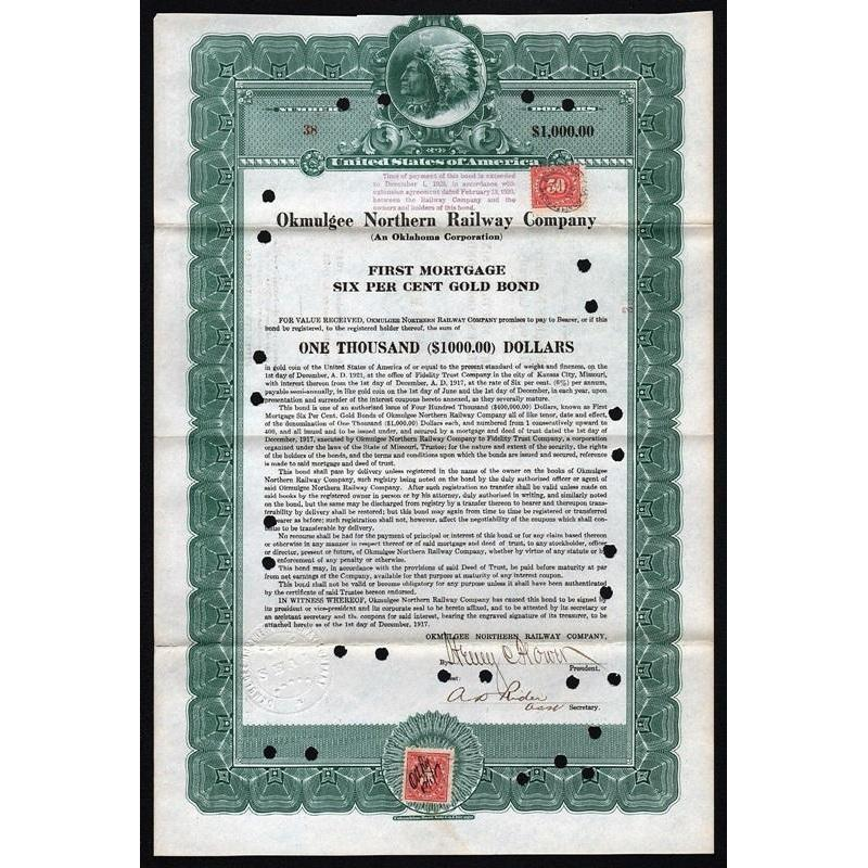 Okmulgee Northern Railway Company Stock Certificate