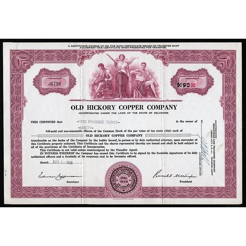 Old Hickory Copper Company Stock Certificate