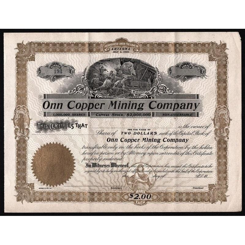 Onn Copper Mining Company Stock Certificate