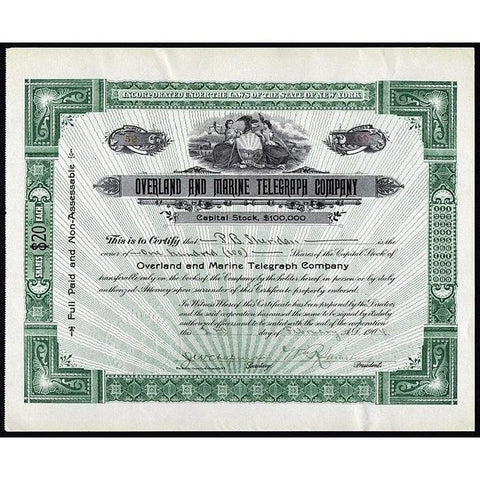 Overland and Marine Telegraph Company Stock Certificate